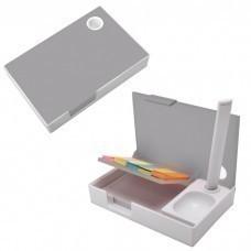 """Набор канцелярский """"Handy"""":ручка,блокнот и листочки для записи post-it, белый с серым, 10,1х6,5х1,8с"""