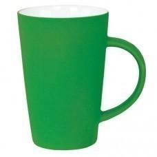 """Кружка """"Tioman"""" с прорезиненным покрытием, зеленый, 320 мл, фарфор"""