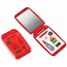 Набор швейный с зеркалом; красный; 7,5х4,9х1 см; пластик; тампопечать