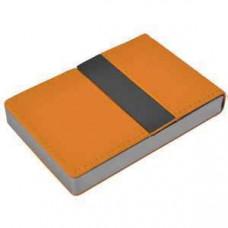 """Визитница """"Меридиан""""; оранжевый; 9,5х6,4х1,6 см; иск. кожа, металл; лазерная гравировка"""