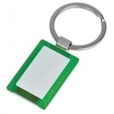 """Брелок """"Прямоугольник"""" зеленый; 2,7х4х0,5 см; металл, пластик; лазерная гравировка"""