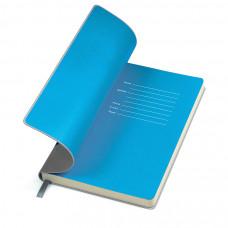 """Бизнес-блокнот """"Funky"""", 130*210 мм,  серый, голубой форзац, мягкая обложка, блок-линейка"""