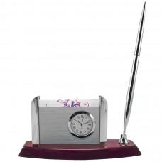 Часы с подставкой для визиток и авторучкой; 16х6,5х9см; дерево, металл; лазерная г