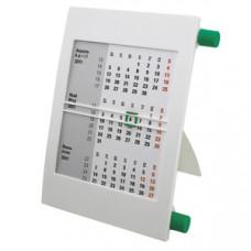 Календарь настольный на 2 года; белый с зеленым; 18х11 см; пластик; тампопечать, шелкография