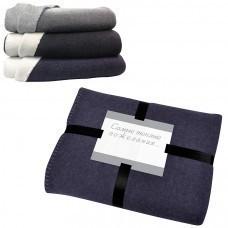 """Плед """"Твин"""" двусторонний, синий/белый,  130х150 см; 85% п/э и 15% вискоза; 350 гр  вышивка"""