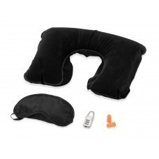 Набор для путешествий с комфортом в футляре: повязка на глаза для спокойного сна в дороге, подушка под голову, беруши и кодовый замок для багажа