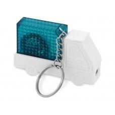 """Брелок-рулетка """"Автомобиль"""", 1 м., с фонариком, белый/синий"""