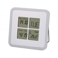 """Погодная станция-часы, будильник, календарь """"Livorno"""", серебро"""