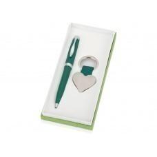 """Подарочный набор """"Сердце"""": ручка шариковая, брелок, зеленый"""