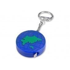 """Брелок-рулетка """"Глобус"""", 1 м., синий/зеленый"""