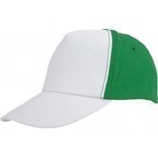 """Бейсболка """"Arizona"""" 5-ти панельная, белый/зеленый"""
