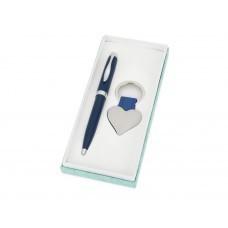 """Подарочный набор """"Сердце"""": ручка шариковая, брелок, синий"""