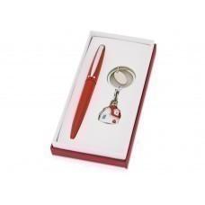 """Набор """"Домик"""": ручка шариковая, брелок, красный/сребристый"""