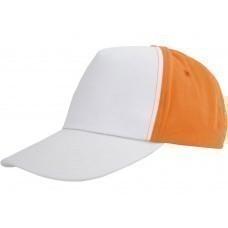 """Бейсболка """"Arizona"""" 5-ти панельная, белый/оранжевый"""
