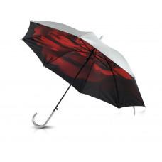 """Зонт-трость """"Роза"""" полуавтоматический двухслойный, серебристый/черный/красный"""