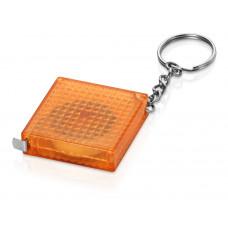Брелок-рулетка из светоотражающего материала, 1 м., оранжевый/серебристый
