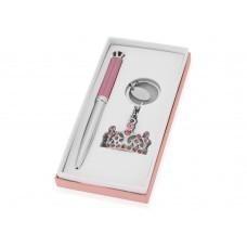 """Набор """"Корона"""": ручка шариковая, брелок, розовый/серебристый"""