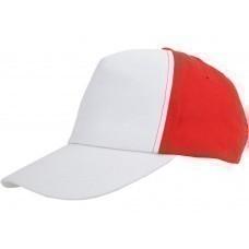 """Бейсболка """"Arizona"""" 5-ти панельная, белый/красный"""