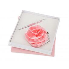 """Набор """"Роза"""": ручка шариковая, кошелек, розовый/серебристый"""