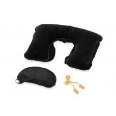 Набор для путешествий с комфортом в чехле: повязка на глаза для спокойного сна в дороге, подушка под голову, беруши