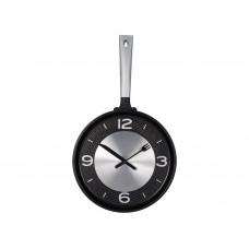 Часы настенные «Сковорода», черный/серебристый