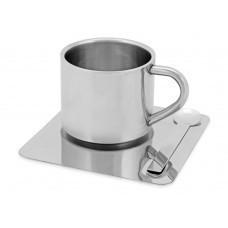 Чашка с термоизоляцией на 180 мл с ложкой на подносе