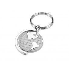 Брелок с глобусом, вращающимся внутри кольца, серебристый