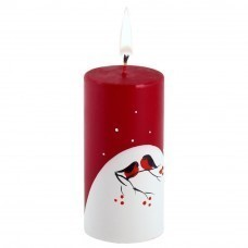 Свеча ручной работы «Снегири на снегу», в форме цилиндра