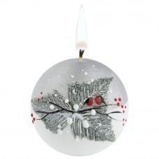 Свеча ручной работы «Снегири в лесу», в форме шара