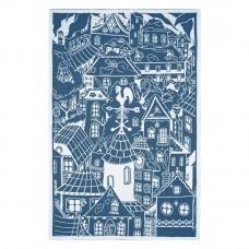 Плед «Город», синий (индиго) с белым