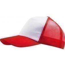 Бейсболка BULL, белая с красным