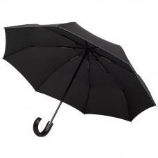 Складной зонт Wood Classic с серой окантовкой, черный