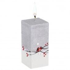 Свеча ручной работы «Снегири в лесу», параллелепипед