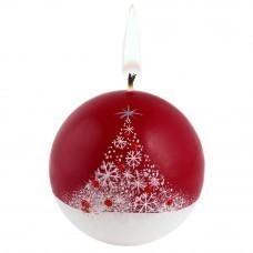 Свеча ручной работы «Снежный лес», в форме шара