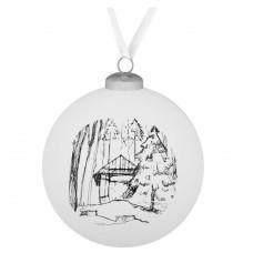 Елочный шар Forest, 10 см, с изображением избушки