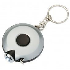 Брелок-фонарик Diode с рулеткой 1,5 м, серебристый с черным