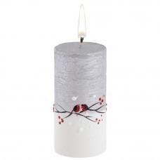 Свеча ручной работы «Снегири в лесу», в форме цилиндра