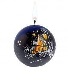 Свеча ручной работы «Ночной город», в форме шара