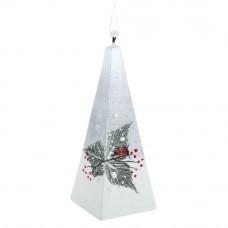 Свеча ручной работы «Снегири в лесу», в форме пирамиды