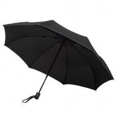 Складной зонт Wood classic с прямой ручкой, черный