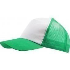 Бейсболка BULL, белая с зеленым
