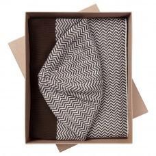 Набор Steps: шарф и шапка, коричнево-белый