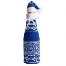 Чехол для шампанского «Скандик» с колпачком, синий (василек)