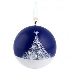 Свеча ручной работы «Зимний лес», в форме шара