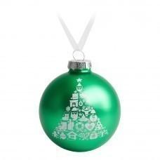 Елочный шар «Новогодний коллаж», 8 см, зеленый с белым