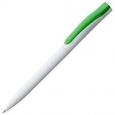 Ручка шариковая Pin, белая с зеленым