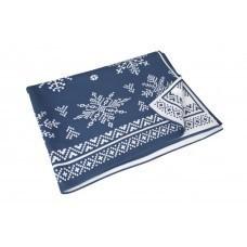 Плед «Снежинки», синий (индиго)